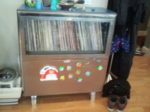 Retro chrome record cabinet.